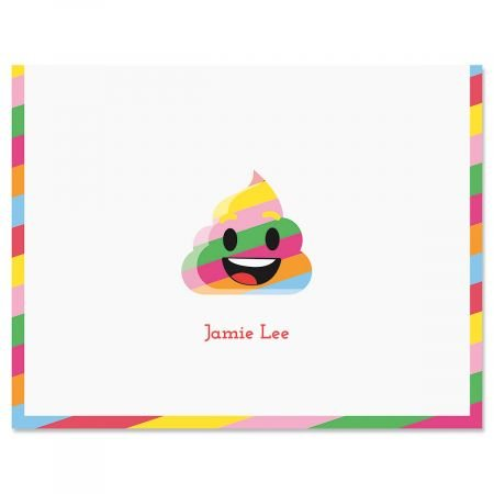 Personalized Rainbow Poop Emoji Kids Note Cards - Set of 24, 4-1/4 x 5-1/2 blank-inside notecards by Lillian Vernon