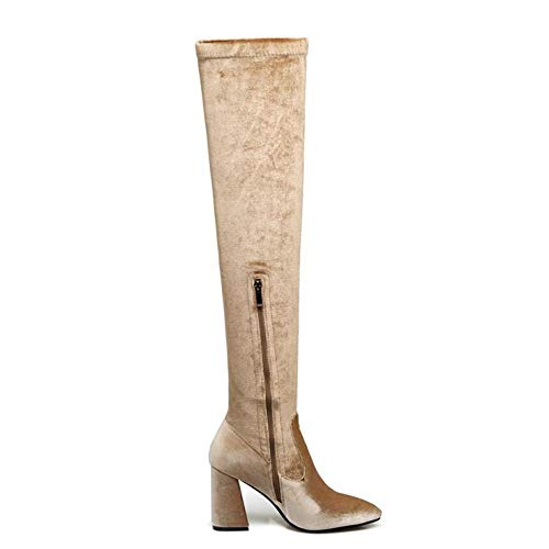 Shoesfashionhigh The Boots Apricot Taoffenwomen Heel Knee Over dwdSFq