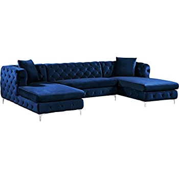 Meridian Furniture 664Navy-Sectional 3 Piece Gail Velvet Sectional 3, Navy