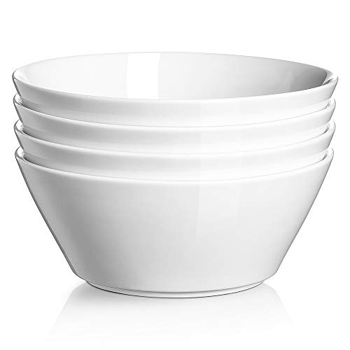 DOWAN Ceramic Soup Bowls, 32 Ounces White Ramen Bowl for Noodle, Porcelain Salad Bowls Set of 4, Large Cereal Bowls for Kitchen, Dishwasher and Microwave Safe