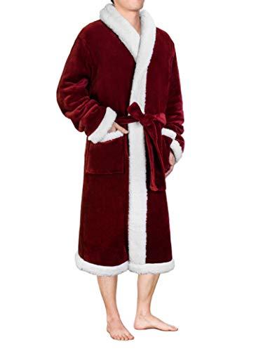 Men's Plush Fleece Sherpa Robe | Soft, Warm, Lightweight Microfiber Spa Bathrobe -