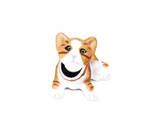 Brown Giddy Bobblehead Tabby Cat with Auto Dashboard Adhesive Batty Bargains