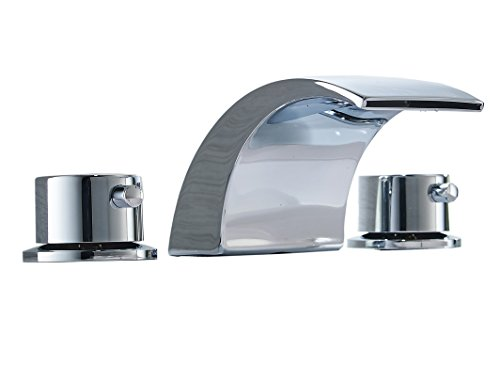 Aquafaucet 8-16 Inch Led Waterfall Widespread Bathroom Sink Faucet 2 Handles 3 Holes Chrome Finish - Chrome Handle 2 Brushed