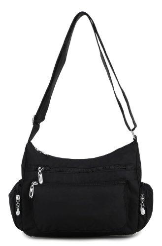 Scarleton Double Pocket Zipper Shoulder Bag H149801 - Black