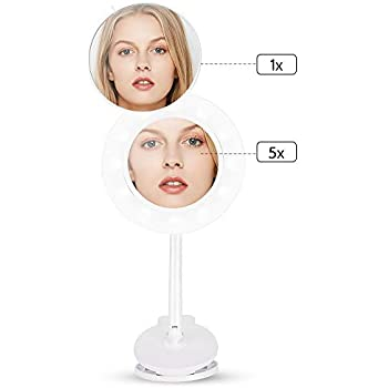 Cordless Lighted Makeup Mirror Rechargeable LED Wall Mounted Vanity Mirror Portable Clip Fill Light for Mobile Phone, with 5X Magnification Mirror and 360 Degree Swivel Rotation