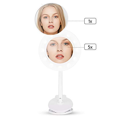 Dularf Cordless Lighted Makeup Mirror Rechargeable LED Wall Mounted Vanity Mirror Portable Clip Fill Light for Mobile Phone, with 5X Magnification Mirror and 360 Degree Swivel Rotation