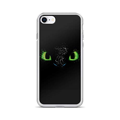 iPhone 7/8 Case Anti-Scratch Japanese Comic Transparent Cases Cover The Eyes of The Dragon Anime & Manga Graphic Novels Crystal Clear (Japanese Blue Eyes White Dragon With Armor)
