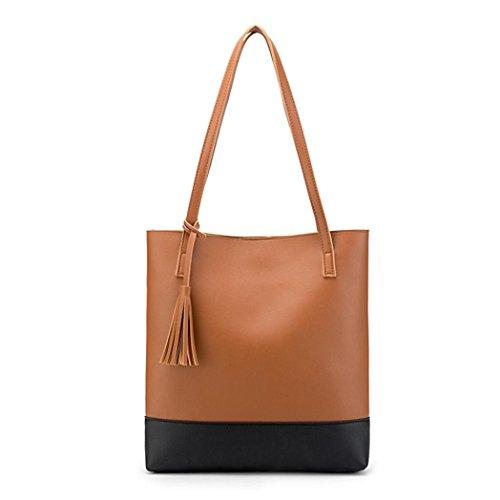 n Tassels Messenger Bag Shoulder Bag Hangbag Bucket Bag (Brown) ()
