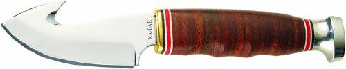 KA-BAR Leather Handled Hunter Knife with Game Hook, Outdoor Stuffs