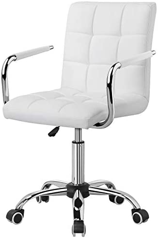 YAHEETECH Computer Office Desk Chair Adjustable Swivle Chair Gas Lift Chrome Base On Wheels Faux Leather White