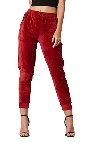 (Conceited Velour Velvet Jogger Leggings for Women - JK-A236 - Jogger Burgundy - Large)