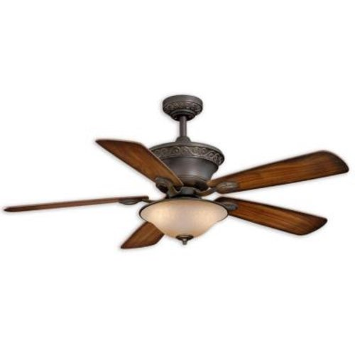 Hampton Bay Romanesque 52 In. ORB and Gold Accent Downrod Ceiling Fan with 5 Plywood Blades and Single Etched Glass