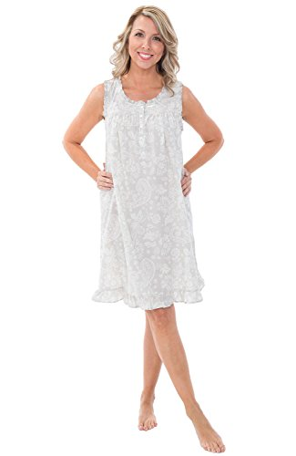 Alexander Del Rossa Womens 100% Cotton Lawn Nightgown, Sleeveless Chemise, XX-Large Beige Cream Filigree (A0580V852X)