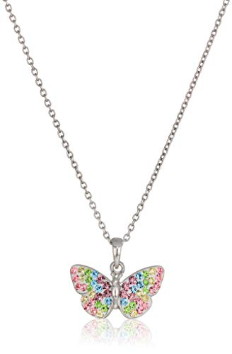 Silver Plated Crystal Pastel Rainbow Butterfly Pendant Necklace, 18