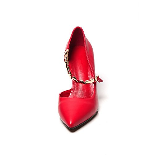 Red Closed AmoonyFashion Toe Sandals Womens Buckle Kitten Cow Solid Heels Leather wgv1qHw0