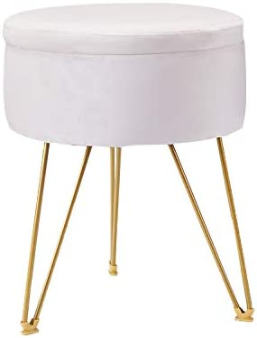 ERONE Round Storage Ottoman with Removable Cover Stool,Gold Metal Legs Pouffes Footrest Stool Beige