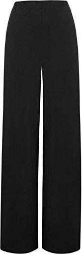 WearAll - Damen Übergröße palazzo weitem bein schlaghosen gummizug - Schwarz - 48 bis 50