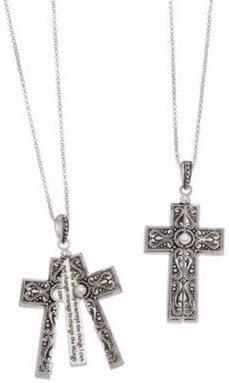 "Howard's Jewelry Locket Necklace-Hidden Message-The Lords Prayer/Cross (33"")"