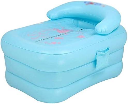 家庭の浴室インフレータブルバスタブポータブル肥厚断熱バスバレル子供の幼児のノンスリップバスタブ (Color : Blue)