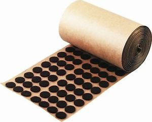 Brown Adhesive Felt Pad - Button 1/2'' Diameter 1,000 / Roll