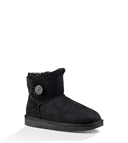 UGG Women's Mini Bailey Button II Winter Boot, Black, 8 B US (Ugg Boots Small)