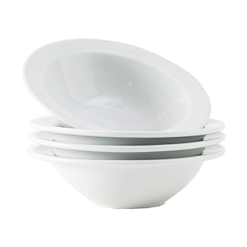 Tuxton Home Alaska Porcelain White Soup Bowl 9.5 oz - Set of 4; Heavy Duty; Chip Resistant; Lead and Cadmium Free; Freezer to Oven Safe up to 500F
