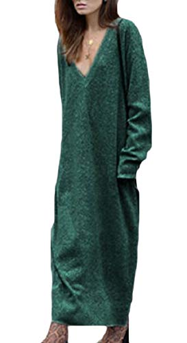 Sodossny Casuale A Manica Midi Con Vestito Sexy V au Lunga Donne Scollo Delle Maglione Verde Maglia 4r5Yq4
