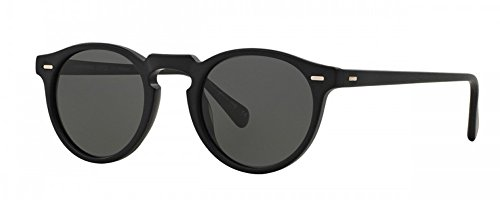 Oliver Peoples Gregory Peck Sunglasses 100% Authentic (Matte Black Frame, Polarized Solid Black - Sunglasses Peck Gregory