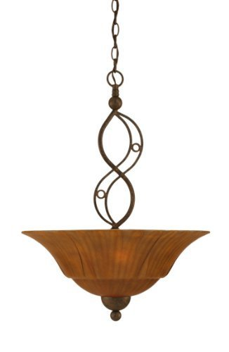(Toltec Lighting 234-BRZ-53819 Jazz Three-Bulb Uplight Pendant Bronze Finish with Tiger Glass, 20-Inch by Toltec Lighting)