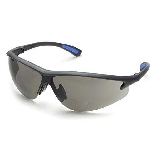Plastic Lens Gray (Elvex Bifocal Reading Safety Glasses in Polycarbonate Gray Lens 2.5 Diopter)