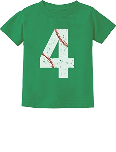 TeeStars - Baseball 4th Birthday Gift for Four Year Old Toddler Kids T-Shirt 5/6 Green