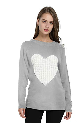 (Belle Amour Women Crew Neck Pullovers Fashion Sweetheart Knitted Sweater Coats Warm Winter (Gray, M))