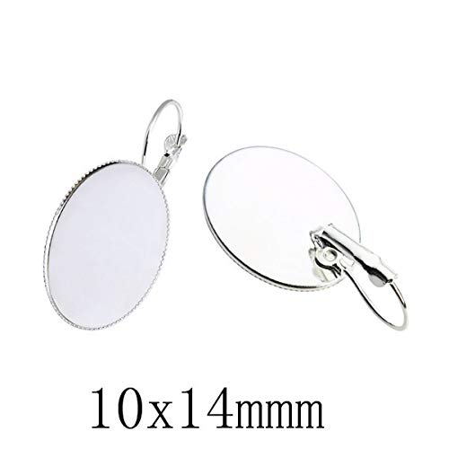 Laliva 10pcs Hoop Earrings Settings Cabochon Base Fit Oval Glass Cabochon Cameo Cabochon Blank Bezel DIY Earring Making Jewelry Finding - (Color: Silver 10x14)