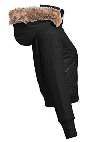 10 Femmes Pierre 14 Noir Fourrure 12 Black Veste 8 Fausse Taille Matelassée Ss7 UAqBO0O