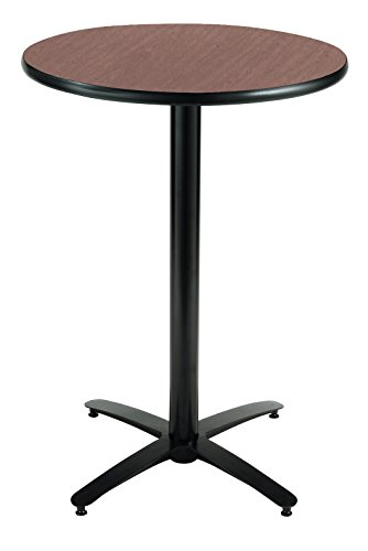 Dark Mahogany Top - KFI Seating Round Bar Height Pedestal Table with Arched X Base, Commercial Grade, 30-Inch, Dark Mahogany Laminate, Made in the USA
