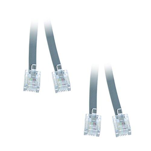 (C&E Telephone Cord (Data), RJ11, 6P / 4C, Silver Satin, Straight, 25 foot - 2 Pack)