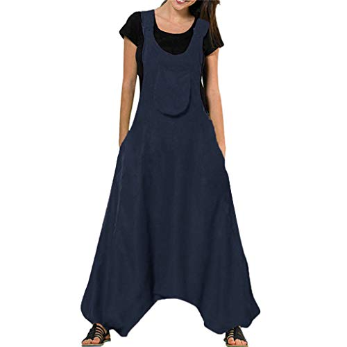 ◐OFEFAN◑ Jumpsuits for Women Long Suspender Twin Side Bib Wide Leg Overalls Pants Large Size Navy -