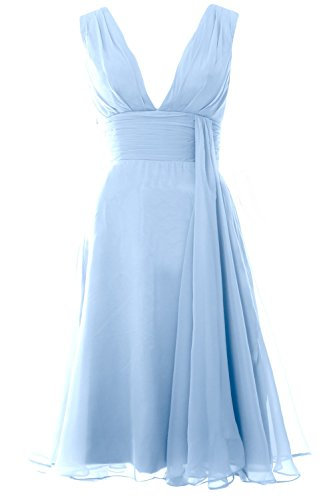 MACloth Women Deep V Neck Cockltail Dress Simple Short Wedding Party Formal Gown Cielo azul
