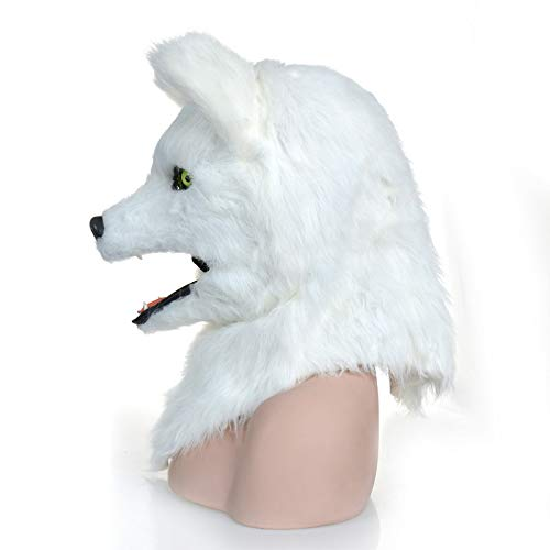 Beixi White Fox Head Mask Fur Fox Headgear with Moving Mouth for Hollween (Color : White, Size : 2525)