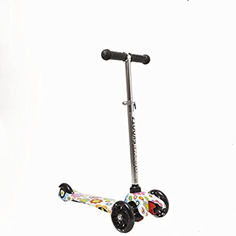 Deluxe 3 Wheel MINI Scooter - Perfect for 2-5 Year Olds. New FUNKY FLOWERZ Design with Adjustable Handlebars and Light Up - Safe T Ii Steering