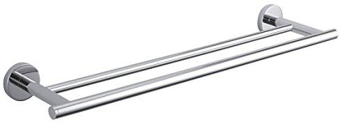 DWBA Brass Double Towel Bar/ Rail Holder for Bathroom 25.6-inch - Polished Chrome. Hanger Bathroom Storage Towel Rack 25.6'' by DWBA Bath Collection
