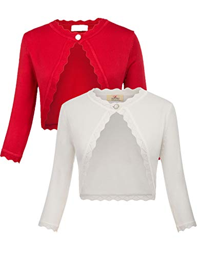 2 Pack Women's Cropped Open Front Bolero Shrug 3/4 Sleeve Knit Cardigan S Red & Ivory (Trim Knit Sweater)