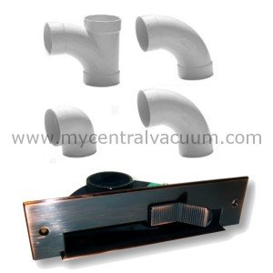 Central Vacuum VacPan Automatic Dust Pan Sweeping Inlet With Common Installation Fittings in Antique Copper Finish by CVC,Inc