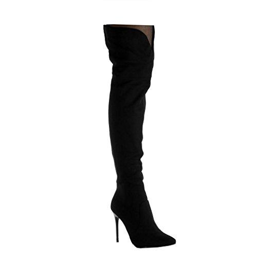 Altas 5 Alto Moda Stiletto Mujer Angkorly Cavalier Forrada Zapatillas Cm Piel Ligeramente Tacón Botas Flexible 10 Negro De Aguja FgOOxqtw