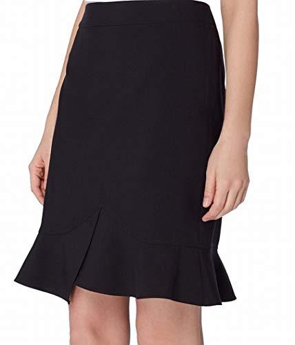 Tahari by Arthur S. Levine Women's Petite Bi Stretch Skirt with Ruffle Bottom, Black, 14P (14p Tahari)