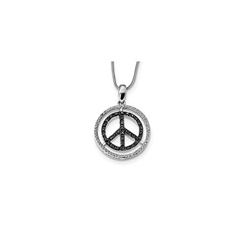 (Black & White Diamond 21mm Peace Sign Necklace in Sterling Silver)
