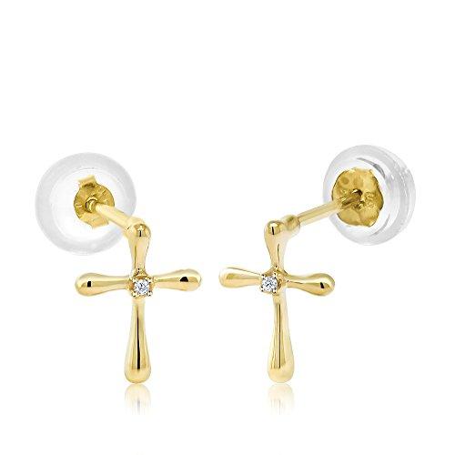 10K Yellow Gold Cross 0.006 Ctw Diamond Earrings 5mm Unisex Children's - Unisex Diamond Gold Cross