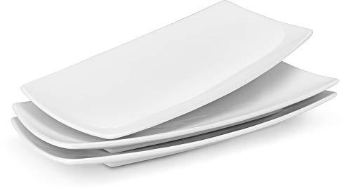 - KooK Serving Trays, Rectangular Platters, Ceramic, White 11.8 in, Set of 3