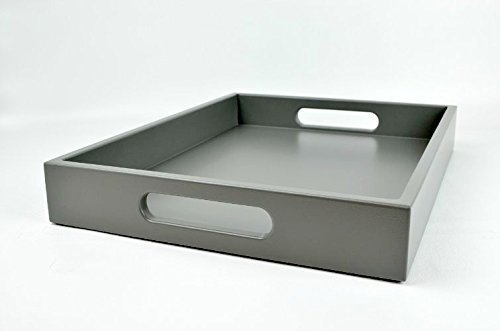 Charcoal Grey Large Ottoman Coffee Table Tray with Handles