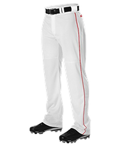 Alleson Adult Warp Knit Baseball Pant With Side Braid White, Scarlet S PWRPBP PWRPBP-WHSC-S (Knit Polyester Warp Adult)